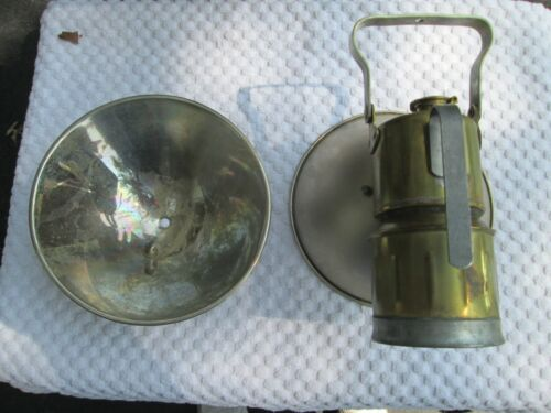 """Miners JUSTRITE No. 2-571 CARBIDE HAND LAMP With Box & extra 7"""" reflector"""