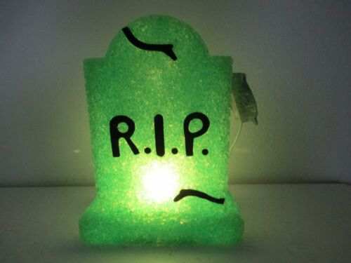 """Halloween Decor - R.I.P. Tombstone Lighted Blow Mold Green Battery 8 1/4"""" T"""