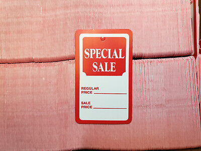 100 Red White Special Sale Coupon Merchandise Price Tags Large Unstrung Label
