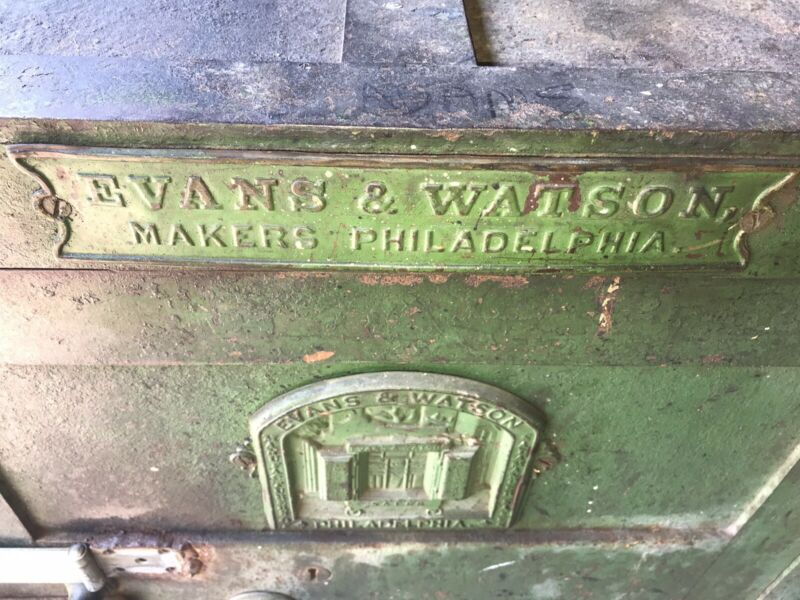 Evans & Watson Salamander Safe Plaque Philadelphia Vault 19th Century Old