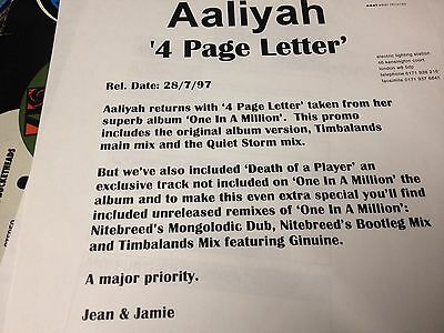 """Aaliyah – 4 Page Letter/1 in a million - 2x12"""" pro"""