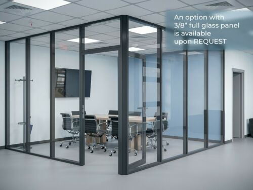 CGP Glass Aluminum 2 Wall Office Partition System w/Door 13