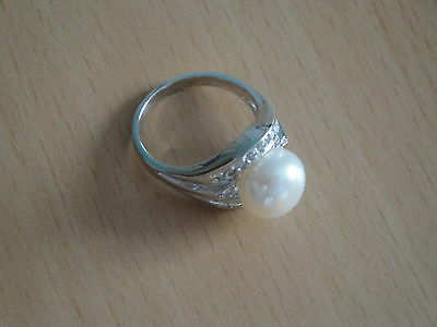 10 Mm Pearl Ring - 10 mm AA+ White Akoya Cultured Pearl Ring Sz.5 -rg104
