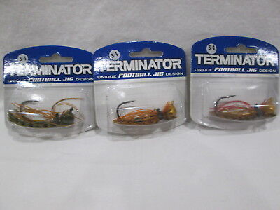 New TERMINATOR 3/4 Oz. Football Jig 3 Different Skirt Colors (Lot of -