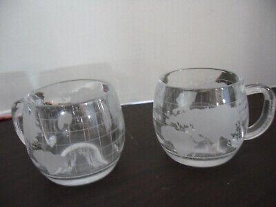 (2) Vintage 1970's Nestle Nescafe Clear Glass Globe World Cup Mug Coffee Tea