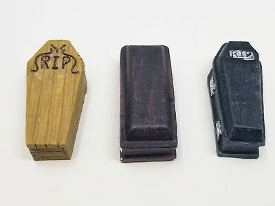 Three MIniature Coffins 2 inches Each Dead Death Decor Halloween Fairy Garden  - Halloween Iii Deaths