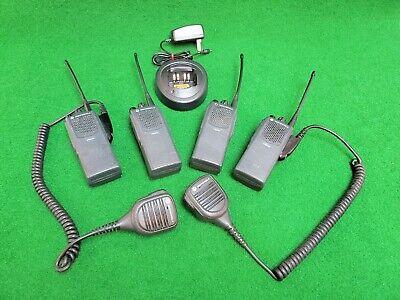 Lot Of 4x Motorola Pr860 Uhf 403-470mhz 4w Radios W Spaeker Mic Charge Cradle