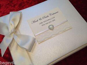 Large Personalised Royal Ivory Vintage Lace Wedding Photo Album - 1 day dispatch