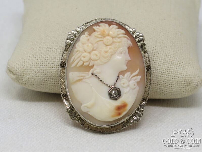 Vintage Signed Habille Cameo Pin with Diamond Accent 10k Gold, Carved Shell15365