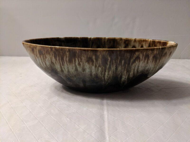 Brown Drip Glaze USA Pottery Oblong Oval Bowl or Planter