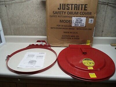 Justrite Safety Drum Cover 26730 Self Closing Steel Drum Lid 30 Galllon New