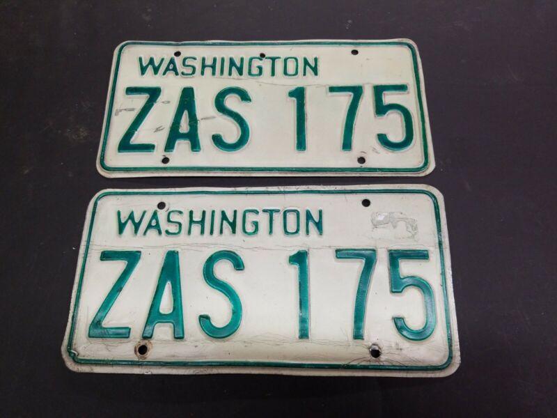 VINTAGE SET 68-82 WASHINGTON BASE PLATES ZAS 175    SET OF LICENSE PLATES