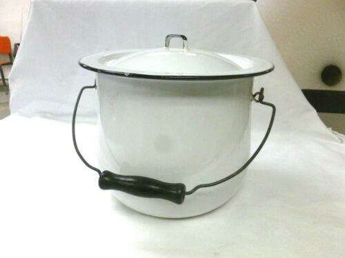 Vintage Enamel Chamber Pot Enamelware Bedpan White Color BLACK Trim With Lid