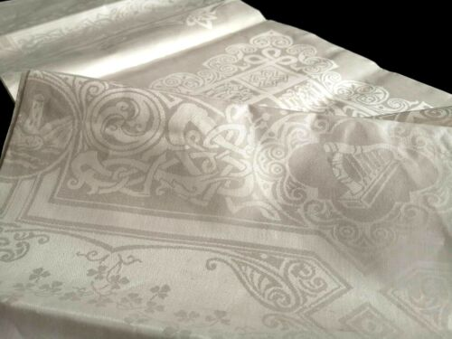 Unused VTG Irish linen D.Damask tablecloth ~ Gee Bee Celtic Design 4 provinces
