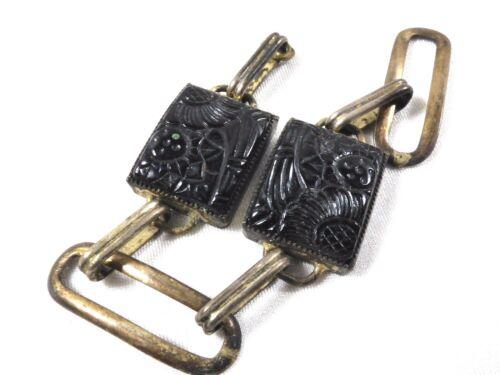 Antique Art Deco Cameo 2 Black Carved Glass Sterling Silver link Bracelet part