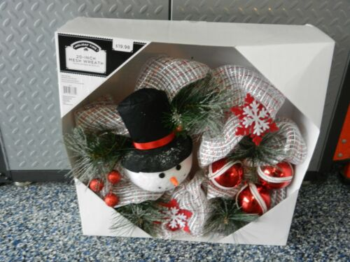 """20"""" MESH SNOWMAN WREATH """"NEW"""" HOLIDAY TIME"""