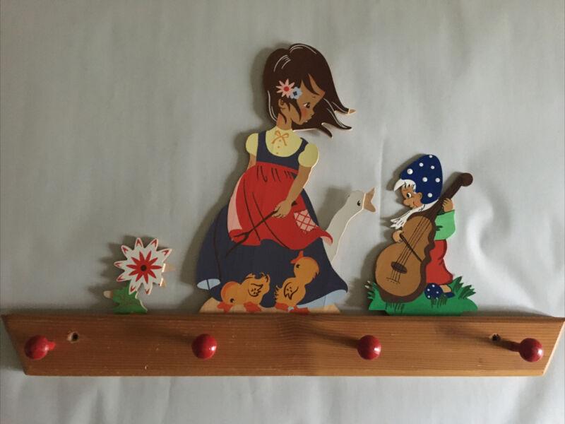 Mertens Kunst Girl w/ GOOSE Elf Wood Wall Rack 1968 Germany Nursery