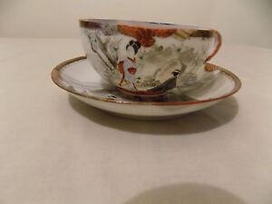 KUTANI PORCELAIN – Vintage, freestyle hand-painted, CUP & SAUCER, JAPAN c.1930