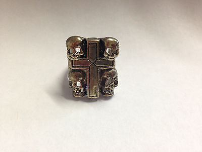 Cross With Skulls Ring Gold  Seen On Sons Of Anarchy Size 10