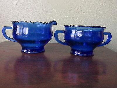 L E Smith Glass Mt Pleasant Double Shield Cobalt Blue Creamer and Open Sugar