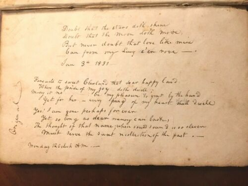 ANTIQUE 1830 MANUSCRIPT Handwritten Journal Caligraphy MASSENBURG PLANTATION NC