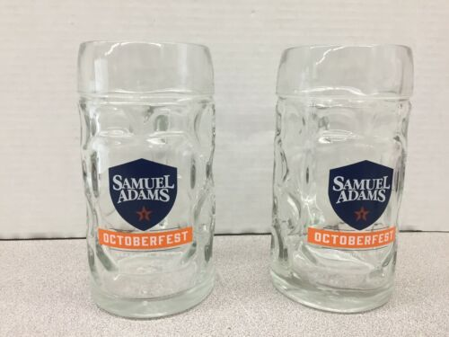 Pair of Samuel Adams 16 oz. Glass Beer Mug Steins  - Octoberfest Seasonal Brew
