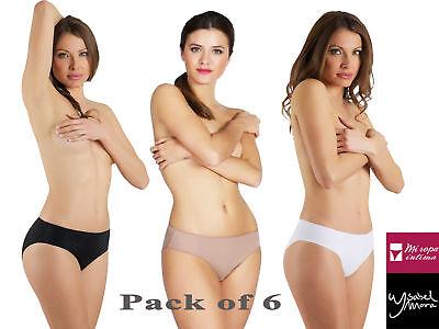 6 Pack Women's Nylon Microfiber High Cut Brief Panties Underwear Plain Colors