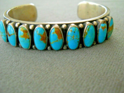 Highly Collectible KIRK SMITH Navajo Turquoise Row Sterling Silver Cuff Bracelet