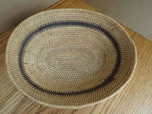 Vintage Hand Woven Coil Basket Oval West Africa Guinea Brown Band