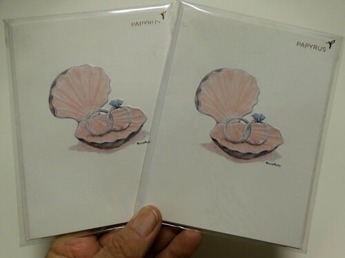 2 Papyrus Cards High Quality Wedding Marriage CARDS Bella Pilar Rings in Oyster