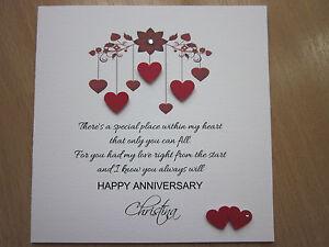 Personalised Handmade Anniversary Engagement Wedding Day Card