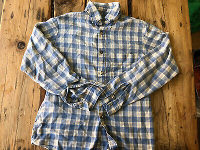 1970s Mens Shirt Styles – Vintage 70s Shirts for Guys Vintage Blue Plaid 1970s Workwear Western Button Down Shirt M $13.27 AT vintagedancer.com