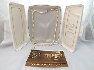 Vintage 14K Gold Amorette Cultured Pearl Necklace &Shortener Pin in Original Box 14k Cultured Pearl Jewelry Box