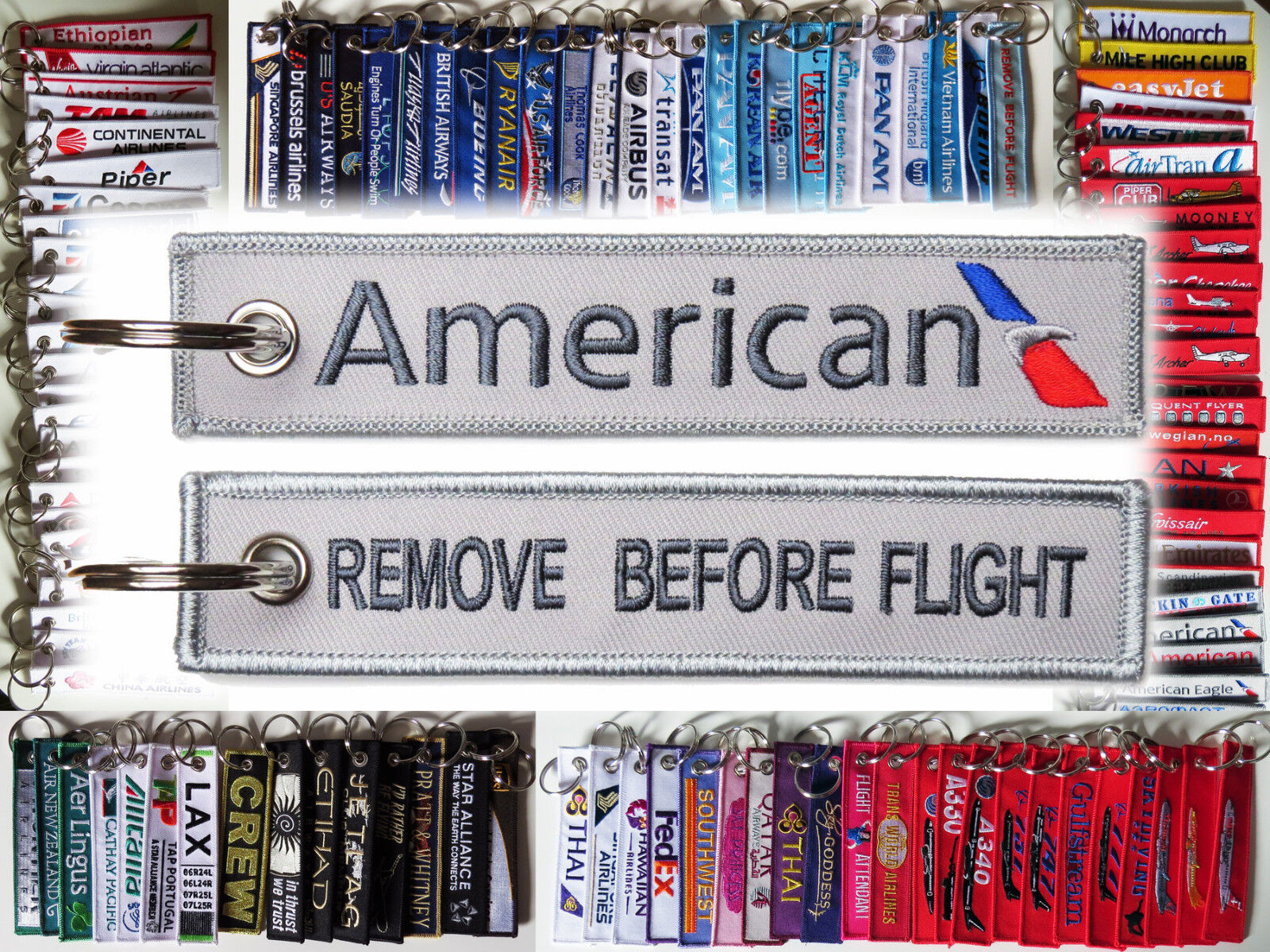 Keyring AMERICAN AIRLINES AA Airline Remove Before Flight keychain for pilot