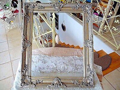 Nostalgie Wand Bilderrahmen Holz Barock Altsilber 74x64 cm Shabby Retro Stil NEU