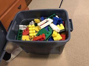 Mega Blocks with wagon and storage bin