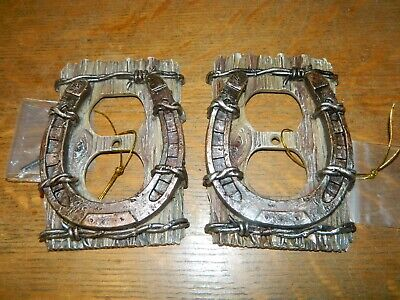 Wholesale Western Decor (Lot/2 Horseshoe Barb Wire Western Electrical Double Outlet Cover)