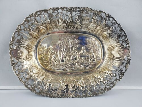 """Antique .800 German Silver Pierced Chased Repousse Fruit Tray Picnic Scene 10"""""""