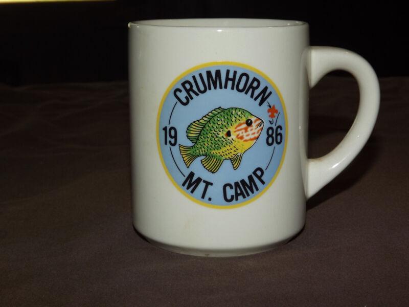 VINTAGE BSA BOY SCOUTS  COFFEE MUG 1986 CRUMHORN MT CAMP