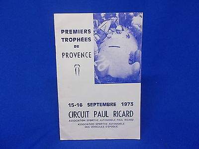 632) Premiers Trophees de Provence Circuit Paul Ricard 1973 Reglement Regeln