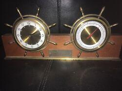 Antique Salem Nautical Ships Wheel Mahogany Desk Electric Clock & Barometer