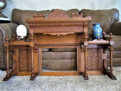 MINT! Tier Shelf Tiger Oak Fireplace Over Mantle Mirror Victorian Reed Organ Top