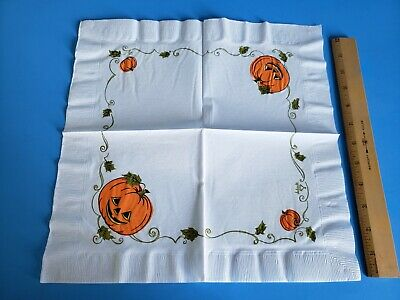 Vintage 1950s Halloween Napkins Pumpkins Jack O Lanterns New Old Stock