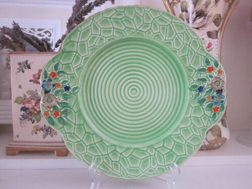 BEAUTIFUL VINTAGE CROWN DEVON GREEN GARDEN PATH CAKE PLATE
