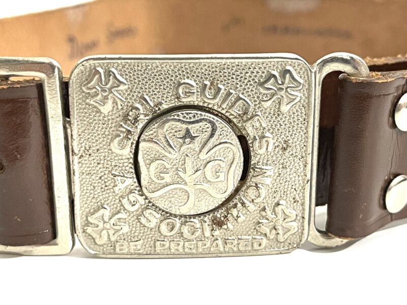 VINTAGE GIRL GUIDES Be Prepared SILVER BUCKLE BROWN LEATHER BELT