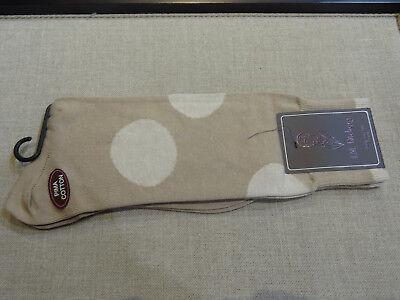 jm Dickens Soft Pima Cotton Mid Calf socks Tan Cream Big Polka Dot