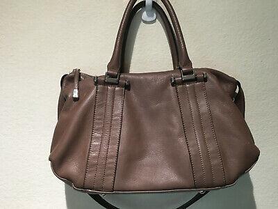 "B.Makowsky Taupe Soft Leather Satchel Handbag, 14"" x 9"""