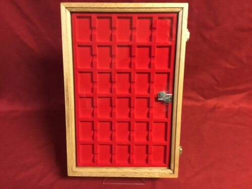 Zippo lighter oak wood display case with 30 compartment holder