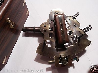 4 inch ANTIQUE BRASS SEXTANT GERMAN MARINE SEXTANT WITH WOODEN BOX