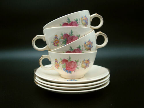 8 Piece Paden City Pottery Rosalee Cup and Saucer Set w/ Gold Trim | Vtg 1940s